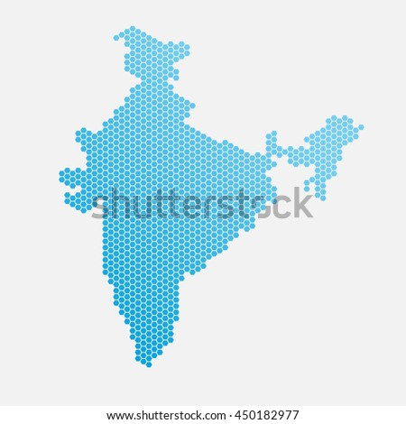 India map of blue gradient hexahedrons