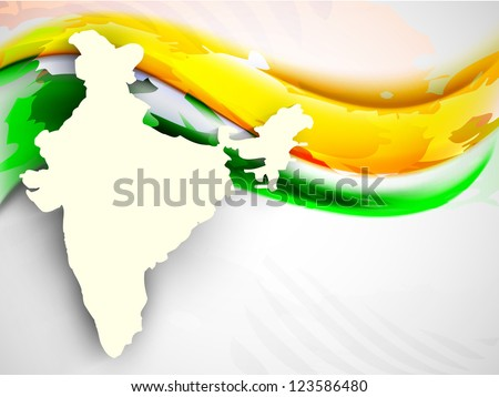 India map on national flag color creative wave background. EPS 10. - stock vector