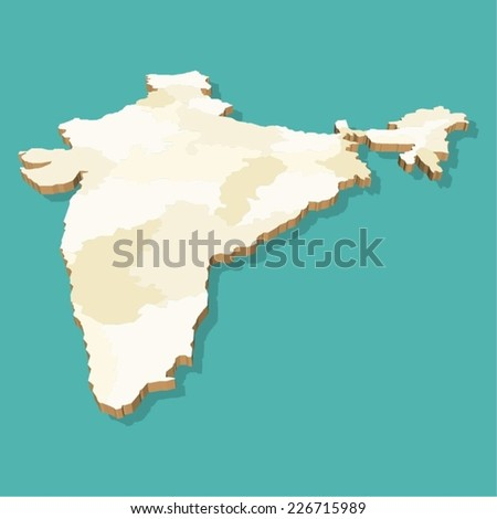 India Map Vector Three Dimensional Stock Vector - India map vector