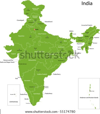 India map with states and capital cities - stock vector