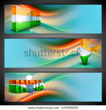 India Nation Flag creative design in website headers or banners set. EPS 10.