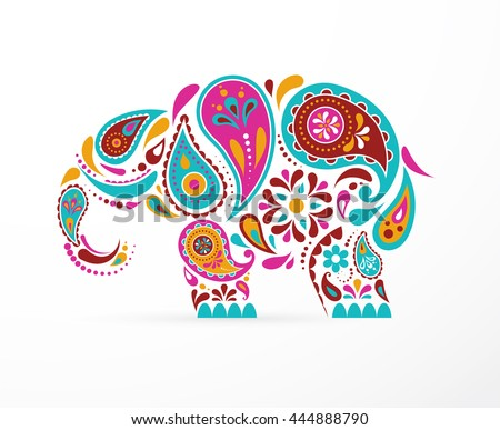 India - parsley patterned elephant, oriental Indian icon and illustration