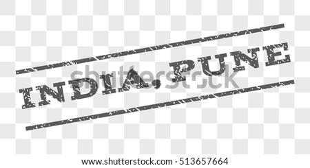 India, Pune watermark stamp. Text tag between parallel lines with grunge design style. Rubber seal stamp with dust texture. Vector grey color ink imprint on a chess transparent background.
