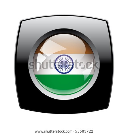 India shiny button flag with black frame -  vector illustration. Isolated abstract object against white background.