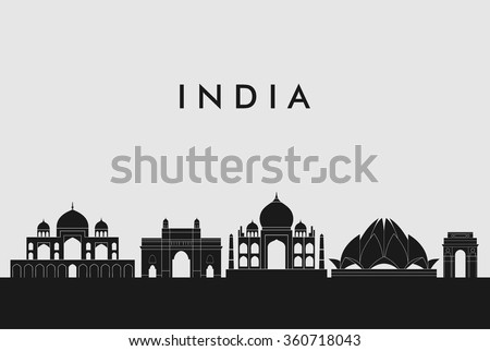 India skyline Vector illustration. Great Concept Design. Silhouette Design.