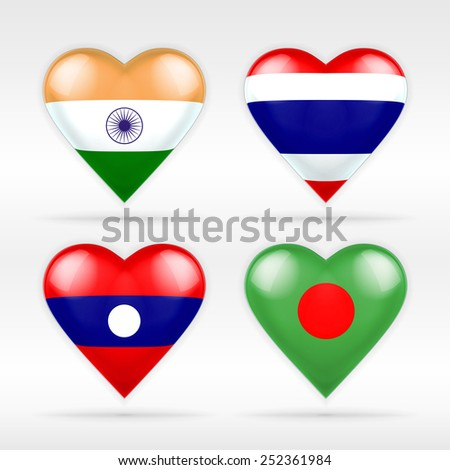India, Thailand, Laos and Bangladesh heart flag set of Asian states as collection of isolated vector state flags icon elements on white - stock vector
