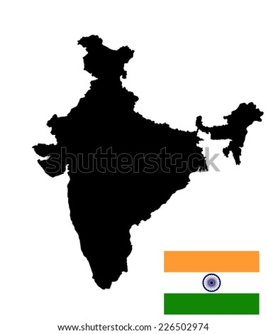 India vector map, and vector flag high detailed silhouette illustration, isolated on white background. - stock vector
