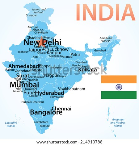 India - vector map with carefully scaled cities by population, geographically correct. - stock vector