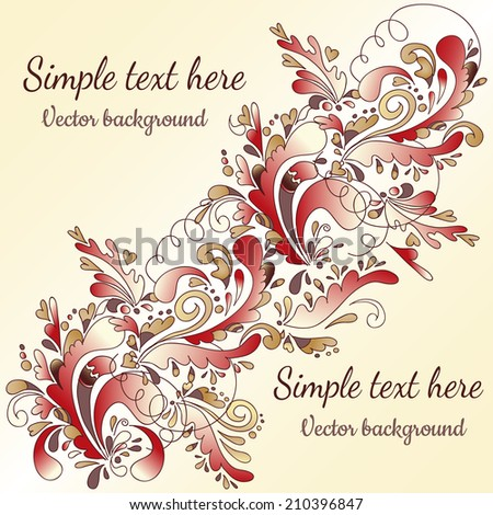 indian abstract floral ornament with swirls diagonal space for text
