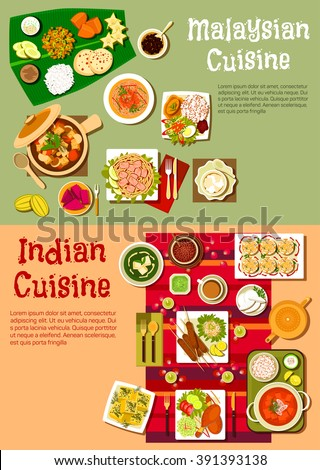 Indian and malaysian national cuisine with rice and curry, kebab and fresh vegetables, meat stew, noodles with prawns and tofu, spicy tandoori chicken and exotic fruits, desserts and beverages