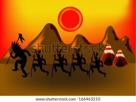 Indian and mountains. vector - stock vector