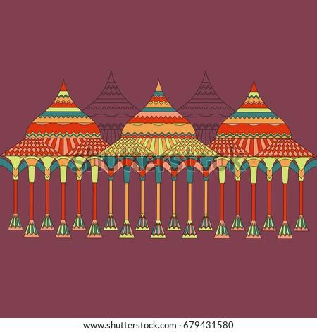vector illustration indian wedding mandap stage stock