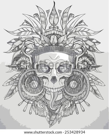 Indian aztec skull hand drawn vector illustration - stock vector