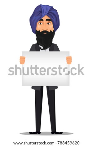 Indian business man cartoon character. Young handsome businessman in business suit and turban holding big blank placard - stock vector