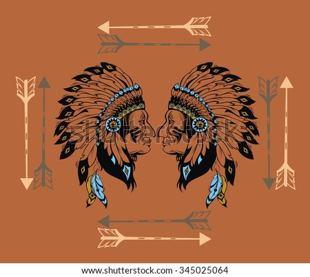 Indian chief - stock vector