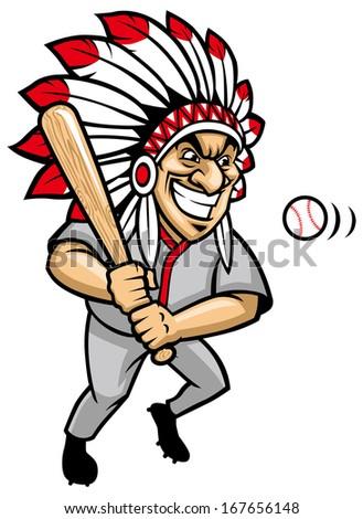 indian chief baseball mascot - stock vector