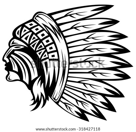 indian chief in hand drawing style - stock vector
