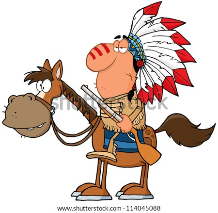 Indian Chief With Gun On Horse. Vector Illustration - stock vector
