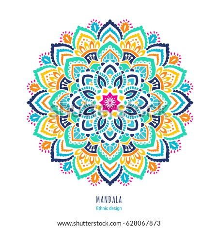 Indian Colorful; Mandala Ornamentation Design. Asian Traditional Mehandi  Style Decor. EPS 10 Vector