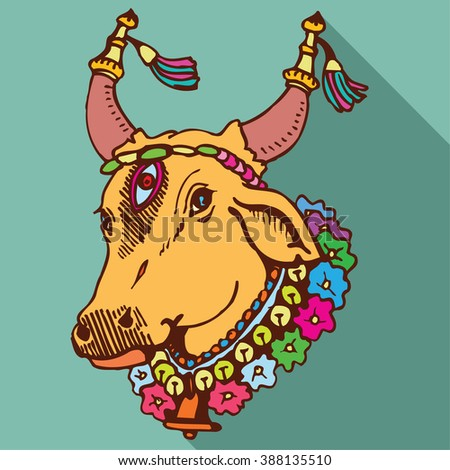 Indian Cow - stock vector