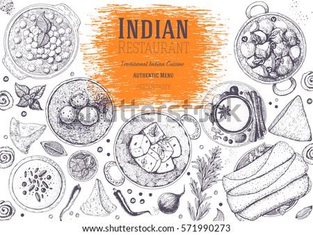 top hand design indian cuisine top view frame indian stock vector 571990273