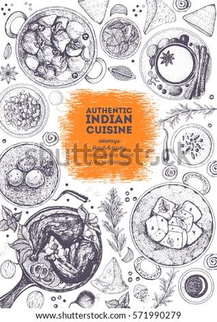 Indian Cuisine Top View Frame Indian Stock Vector 571990279 - Shutterstock