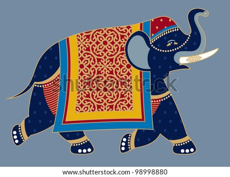Indian Decorated Elephant Illustration - stock vector