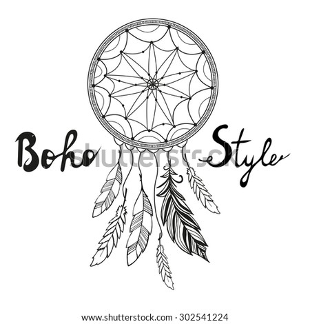 Indian Dream catcher. Boho style - stock vector