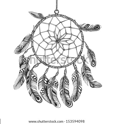 Indian Dream catcher in a sketch style. Vector illustration isolated on white background. - stock vector