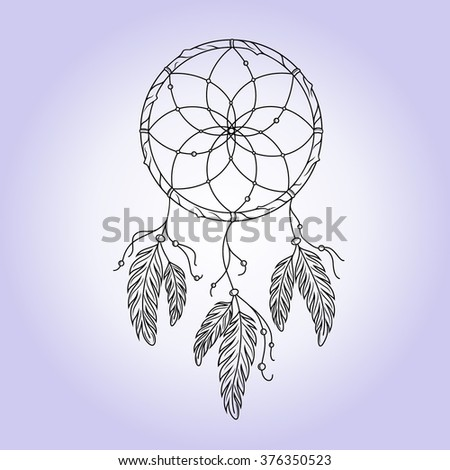 Indian dream catcher. Vector illustration.