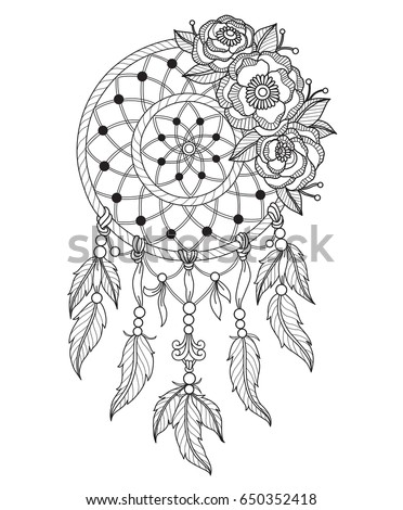 Zentangle on black and white coloring page outline of a hippie