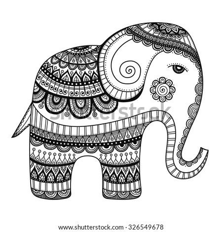 Indian elephant. Hand drawn doodle indian elephant with tribal ornament. Vector ethnic elephant. Coloring page for coloring book. - stock vector