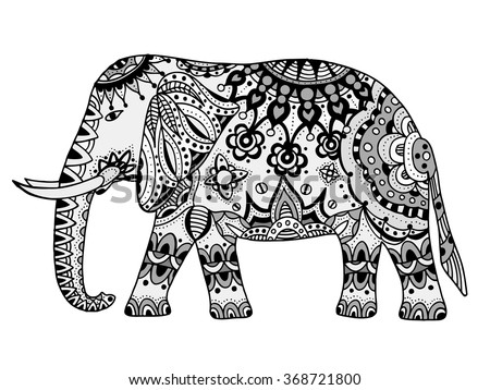 Indian elephant. Hand drawn doodle indian elephant with tribal ornament. Vector ethnic elephant. - stock vector