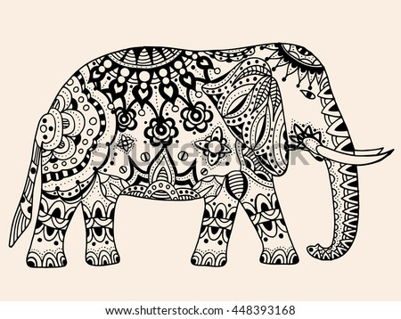 Indian elephant. Hand drawn doodle indian elephant with tribal ornament. Vector ethnic elephant. Black, beige color
