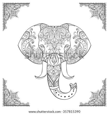 Indian Elephant Head Ornate Hand Drawn Vector Illustration