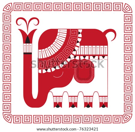 Indian elephant in decorative style isolated on white background - stock vector
