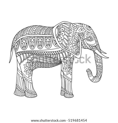 indian elephant in traditional asian style ornate elephant on lace background for antistress relax adult