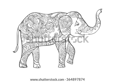 indian elephant in traditional asian style ornate elephant on lace background for coloring page design - Coloring Page Elephant Design