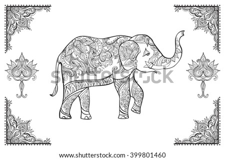 ornate elephant on lace background for coloring page design indian