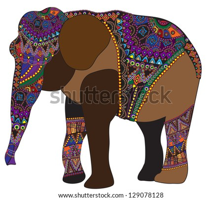 Indian elephant with different patterns in ethnic style - stock vector