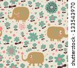 Indian elephants in flowers. Cute cartoon wallpaper. Seamless pattern can be used for wallpapers, pattern fills, web page backgrounds, surface textures. - stock photo