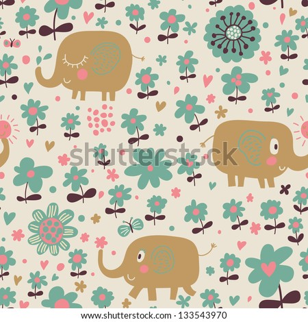 Indian elephants in flowers. Cute cartoon wallpaper. Seamless pattern can be used for wallpapers, pattern fills, web page backgrounds, surface textures. - stock vector