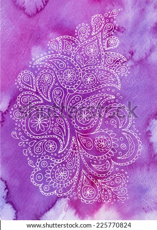 Indian ethnic ornament on watercolor abstract background. Henna paisley flowers mehendi tattoo, hand drawn design. Vector illustration. - stock vector
