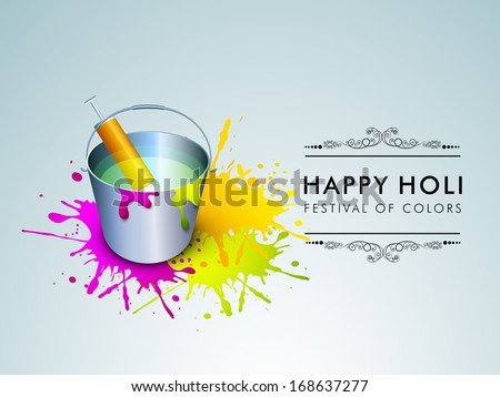 Indian festival Happy Holi celebration concept with bucket with full of colors and stylish text.