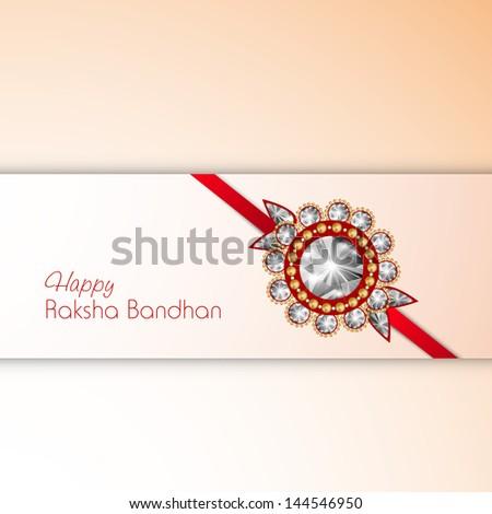 Indian festival Raksha Bandhan background with beautiful rakhi. - stock vector