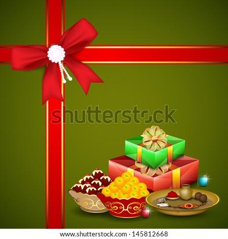 Indian festival Raksha Bandhan background with beautiful rakhi and gift boxes.  - stock vector
