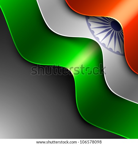 Indian flag background with wave pattern isolated on grey background. EPS 10. - stock vector