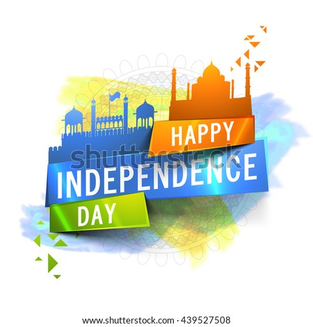 Indian Flag colour, Glossy Paper Tag with illustration of Red Fort and Taj Mahal on abstract background for Happy Independence Day celebration. - stock vector