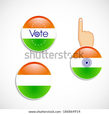 Indian flag illustration with vote buttons and voting symbol hand - stock vector
