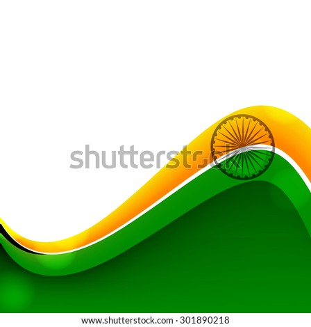 Indian flag stylish wave illustration for independence day background vector - stock vector